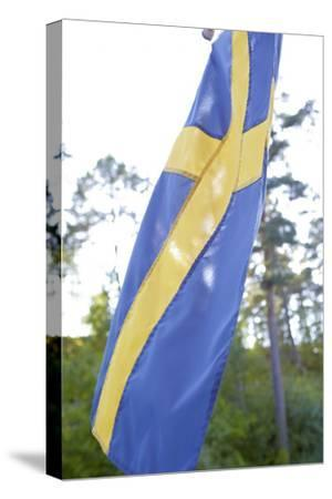 Swedish flag, close up-Andrea Lang-Stretched Canvas Print