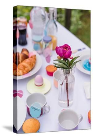 Garden table, covered, Easter breakfast, detail,-mauritius images-Stretched Canvas Print