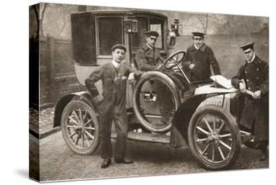 First taxi-cab in Liverpool, Merseyside, 1906-JP Wood-Stretched Canvas Print
