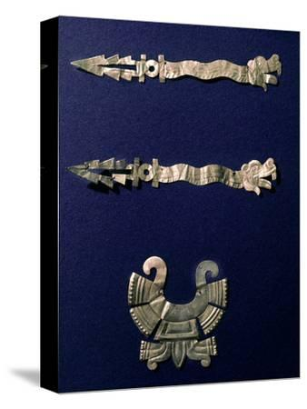 Gold labret and two xiuhcoatl ('fire serpents'), Aztec, Mexico, c1500-Werner Forman-Stretched Canvas Print