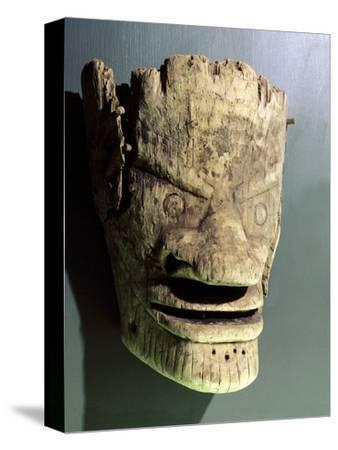 Wooden death mask, Eskimo or Aleut, Aleutian Islands-Werner Forman-Stretched Canvas Print