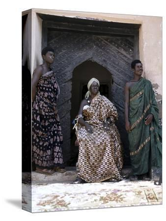 Nana Amonu X, Fante Omanhene of Anomabu, and two members of his court, Ghana, 1977-Werner Forman-Stretched Canvas Print