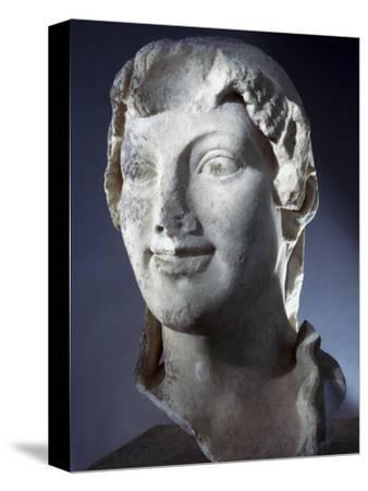 Marble head of the Goddess Kore (Persephone), Ancient Greek, Archaic period, 650-480 BC-Werner Forman-Stretched Canvas Print