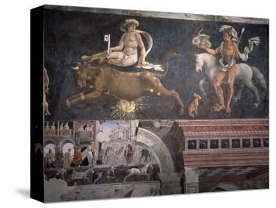 Allegorical representation of the signs of the zodiac by Francesco del Cossa, Italian, c1469-1470-Werner Forman-Stretched Canvas Print