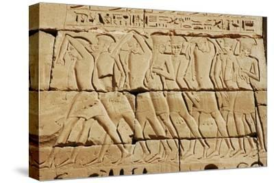 Detail of a relief on the mortuary temple of Ramesses III-Werner Forman-Stretched Canvas Print
