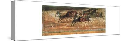 Painting of a chariot race in the amphitheatre of Pompeii-Werner Forman-Stretched Canvas Print