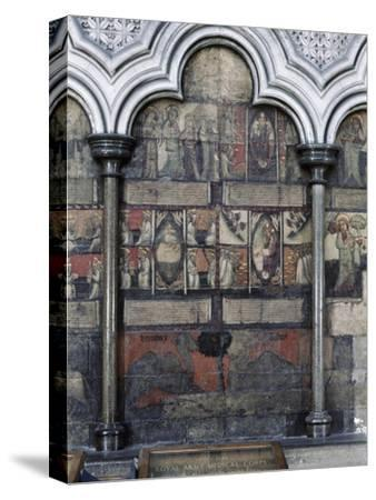 Wall painting in the Chapter House, Westminster Abbey, London, c1400-Werner Forman-Stretched Canvas Print