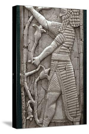 Ivory fragment depicting a warrior, Phoenician, Iraq, last third of 8th century BC-Werner Forman-Stretched Canvas Print