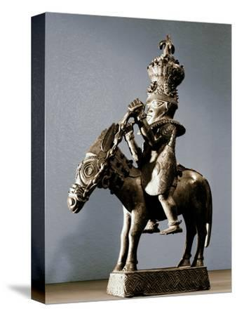 Bronze figure of a warrior on horseback, Benin, Nigeria, late 17th - early 19th century-Werner Forman-Stretched Canvas Print