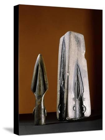 Bronze spearhead and mould, pre-Celtic or early Celtic Britain-Werner Forman-Stretched Canvas Print