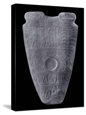 The Narmer Palette, Ancient Egyptian, c3100-2890 BC-Werner Forman-Stretched Canvas Print