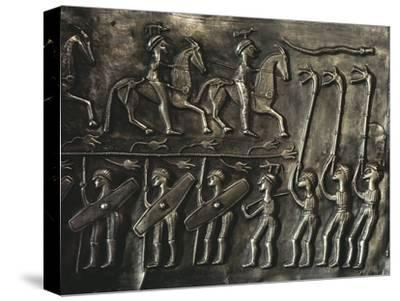 Panel of the Gundestrup cauldron, 2nd or 1st century BC-Werner Forman-Stretched Canvas Print