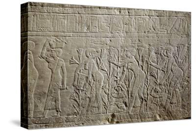 Relief, Ancient Egyptian, 26th dynasty, 664-525 BC-Werner Forman-Stretched Canvas Print