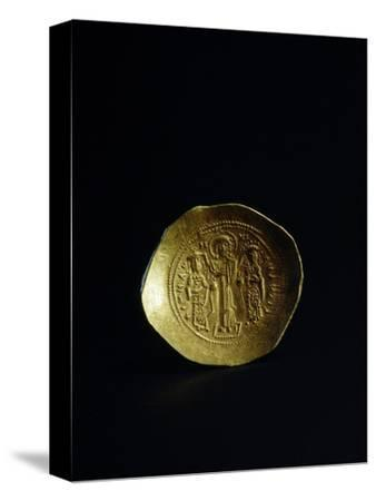 Obverse of a gold scyphate (coin) of Romanos IV, Byzantine, 11th century-Werner Forman-Stretched Canvas Print