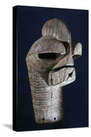 Songye wooden mask, Katanga region, DR Congo, 20th century-Werner Forman-Stretched Canvas Print