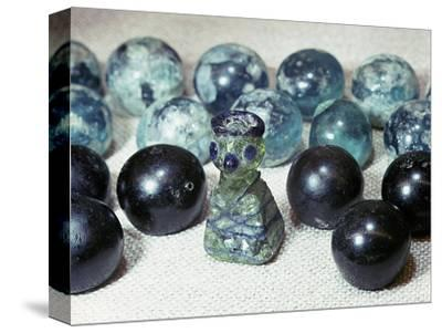 Glass gaming pieces found at Birka, Sweden-Werner Forman-Stretched Canvas Print