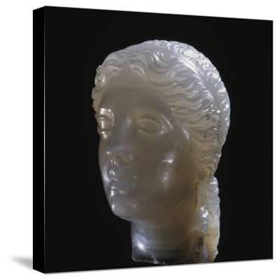 Hellenistic alabaster female head, Greece, 3rd century BC-Werner Forman-Stretched Canvas Print