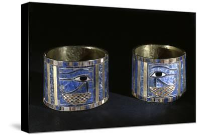 Bracelets with Wedjat eyes, Ancient Egyptian, 22nd dynasty, c890 BC-Werner Forman-Stretched Canvas Print