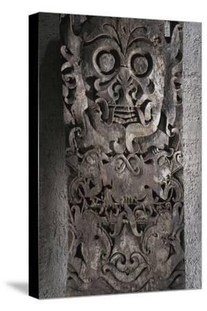 Dayak carved wooden panel, Kalimantan, Borneo, 19th-20th century-Werner Forman-Stretched Canvas Print