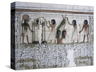 Vignette from the Book of the Dead of Neferrenpet, Ancient Egyptian, 19th dynasty, 1295-1186 BC-Werner Forman-Stretched Canvas Print