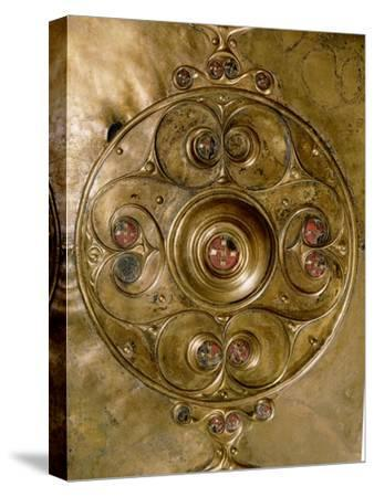 Bronze shield decorated with studs in red glass paste (detail)-Werner Forman-Stretched Canvas Print
