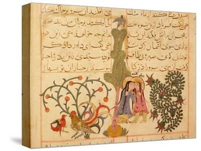 Scene from the only known illustrated manuscript of the poem, the Romance of Varqa and Gulshah-Werner Forman-Stretched Canvas Print
