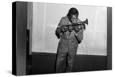 Miles Davis Kissing Trumpet--Stretched Canvas Print