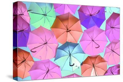 Colourful Umbrellas Collection - Light Pink-Philippe Hugonnard-Stretched Canvas Print