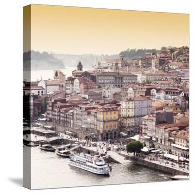 Welcome to Portugal Square Collection - Ribeira View at Sunset - Porto-Philippe Hugonnard-Stretched Canvas Print