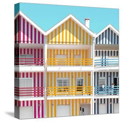 Welcome to Portugal Square Collection - Three Houses of Striped Colors IV-Philippe Hugonnard-Stretched Canvas Print