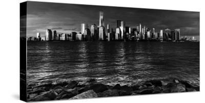 NEW YORK, NEW YORK, USA - New York City Spectacular Sunset in black and white focuses on One Wor...-Panoramic Images-Stretched Canvas Print