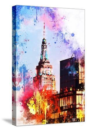 NYC Watercolor Collection - At the Top of the Empire-Philippe Hugonnard-Stretched Canvas Print