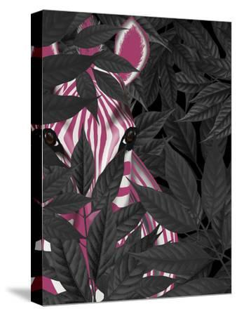 Zebra, Pink in Black Leaves-Fab Funky-Stretched Canvas Print