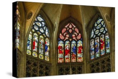 France, Toulouse. Cathedral of St. Etienne stained glass windows.-Hollice Looney-Stretched Canvas Print
