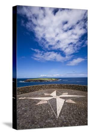 Portugal, Azores, Sao Jorge Island, Topo. Ponta do Topo, compass rose mosaic-Walter Bibikow-Stretched Canvas Print