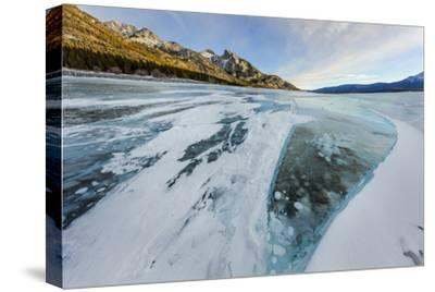 Methane ice bubbles under clear ice on Abraham Lake near Nordegg, Alberta, Canada-Chuck Haney-Stretched Canvas Print