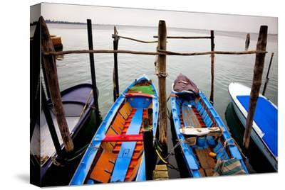 Italy, Burano. Moored boats.-Jaynes Gallery-Stretched Canvas Print