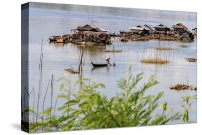 Koh Trong Island. Floating Vietnamese fishing village across the Mekong River from Kratie, Cambodia-Yvette Cardozo-Stretched Canvas Print