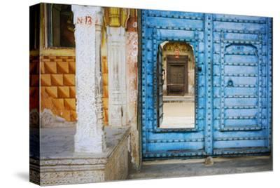 India, Rajasthan. colorful house.-Jaynes Gallery-Stretched Canvas Print