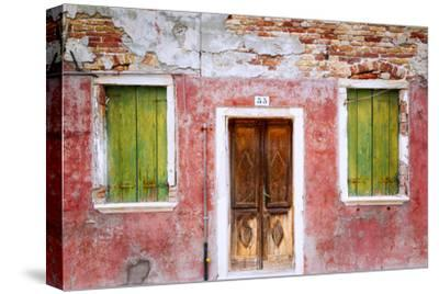 Italy, Veneto, Burano. Weathered house exterior.-Jaynes Gallery-Stretched Canvas Print