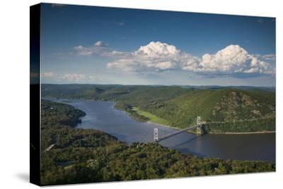 USA, New York, Bear Mountain State Park. elevated view of the Bear Mountain Bridge-Walter Bibikow-Stretched Canvas Print