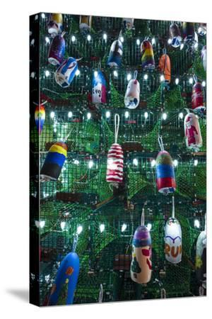 USA, Massachusetts, Cape Ann, Gloucester. Christmas Tree made of lobster traps-Walter Bibikow-Stretched Canvas Print