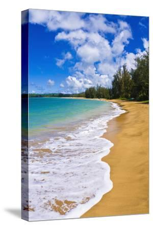 Empty beach and blue Pacific waters on Hanalei Bay, Island of Kauai, Hawaii, USA-Russ Bishop-Stretched Canvas Print