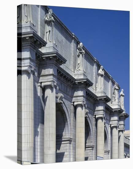 Union Station facade and sentinels, Washington, D.C.-Carol Highsmith-Stretched Canvas Print