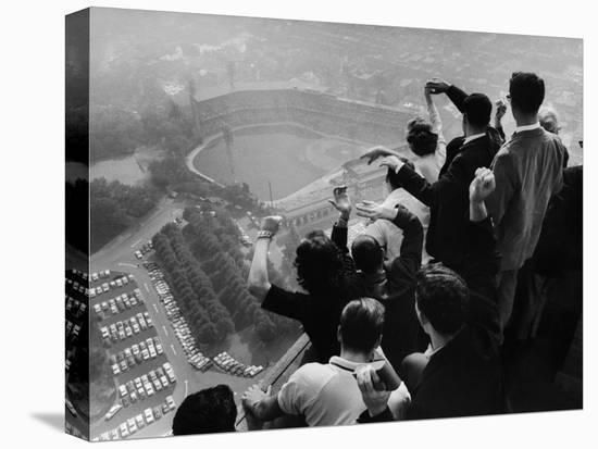 University of Pittsburgh Students Cheering Wildly from Atop Cathedral of Learning, School's Campus-George Silk-Stretched Canvas Print
