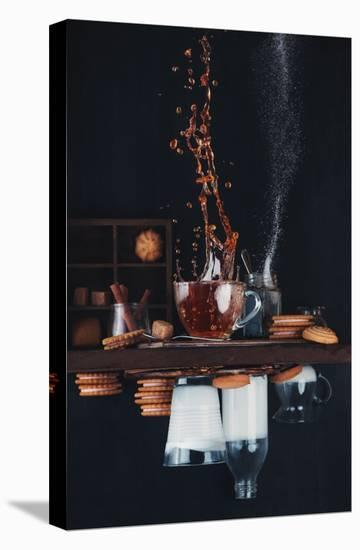 Upside And Down Again (with Coffee)-Dina Belenko-Stretched Canvas Print