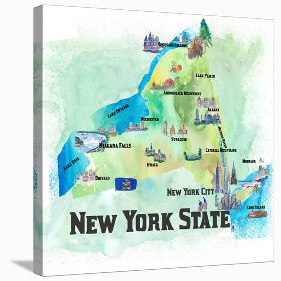 USA New York State Travel Poster Map With Highlights And Favorites-Markus Bleichner-Stretched Canvas Print