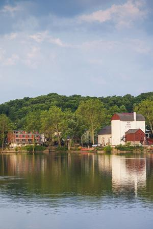 USA, Pennsylvania, New Hope. town view from the Delaware River-Walter Bibikow-Stretched Canvas Print