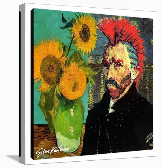 Van Gogh Mohaw & Sunflowers-Steve Kaufman-Gallery Wrapped Canvas