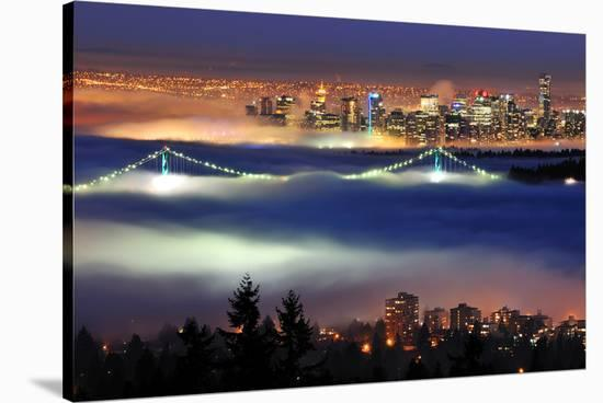 Vancouver with Evening Fog--Stretched Canvas Print